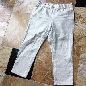 Soft Surroundings Ankle Jeans/golden shimmer print